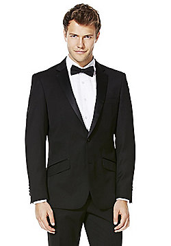 F&F Satin Lapel Tailored Fit Tuxedo Jacket - Black