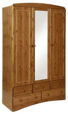 Scandi Pine Three Door Wardrobe Five Drawers and Mirror