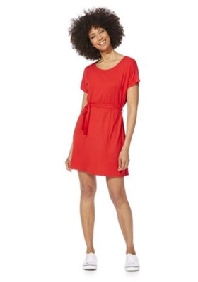 F&F Tie Waist Jersey Dress Red 6
