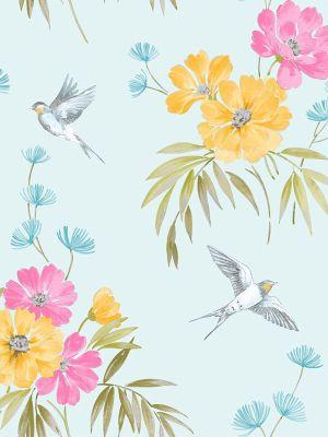 Fine Decor Riva Floral Wallpaper Teal FD41590