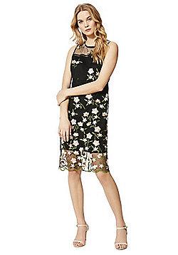 F&F Rose Embroidered Mesh Overlay Midi Dress - Black & Multi