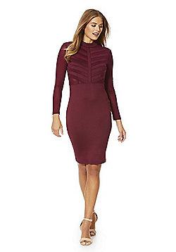 AX Paris Stripe Panel High Neck Bodycon Dress - Burgundy