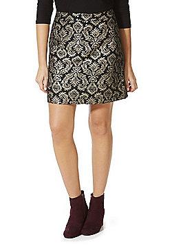 F&F Metallic Baroque Jacquard Mini Skirt - Gold & Black