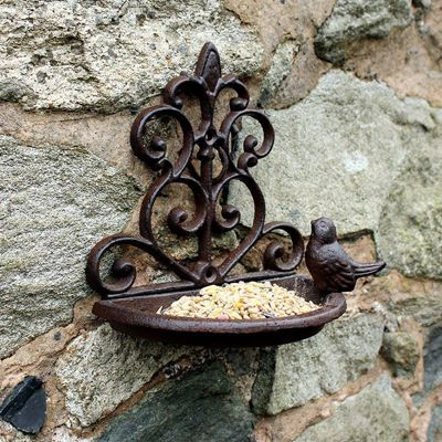 Natures Market Traditional Cast Iron Wall Mounted Bird Bath and Feeder Garden