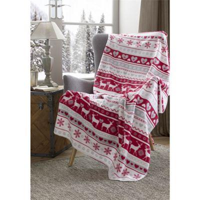 Festive Home Luxury Deer Christmas Throw - 59x78 Inches (150x200cm)