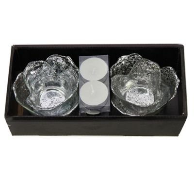 Silver Flower Tealight Holder Duo Boxed Set