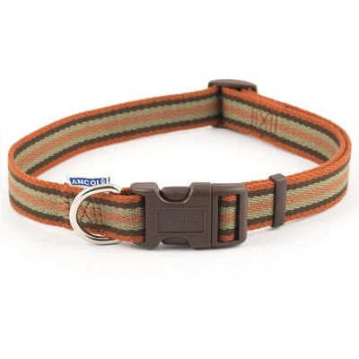 Ancol Cotton Stripe Adjustable Collar - Brown Stripe - 20cm-30cm
