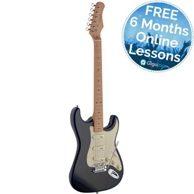 Stagg SES50M-BK S Series Vintage Elec Guitar - with 6 Months Free Online Lessons