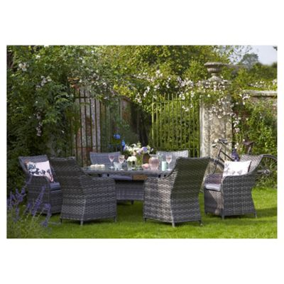 lola rattan effect 7 piece garden dining set grey