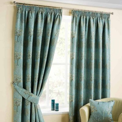 Homescapes Duck Egg Blue Jacquard Curtain Pair Embroidered Trees 66x72