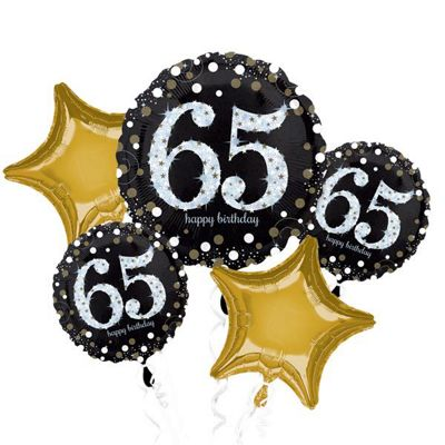 65th Birthday Sparkling Celebration Balloon Bouquet - Assorted Foil 28 inch