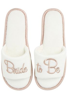 F&F Bride To Be Slide Slider Slippers Cream Adult 3-4