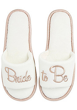 F&F Bride To Be Slide Slider Slippers - Cream