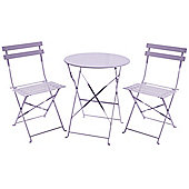 Charles Bentley 3 Piece Metal Bistro Set Garden Patio Table & 2 Chairs - Lilac