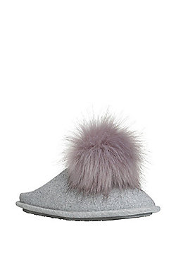 F&F Pom Pom Jersey Mule Slippers - Grey