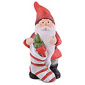 Cute Terracotta Father Christmas with Stocking Ornament
