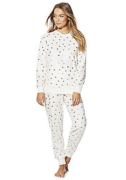 F&F Foil Star Print Fleece Pyjamas - Cream