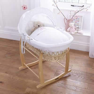 Clair de lune Stardust Natural Wicker Moses Basket - Pink