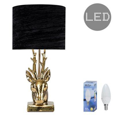 48cm Ceramic Stags Head LED Table Lamp - Gold & Black Velvet