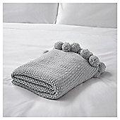 FOX & IVY Knitted Pom Pom Throw Grey