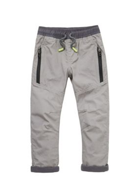F&F Jersey Lined Honeycomb Poplin Trousers Taupe 12-18 months