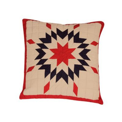 Woven Magic Patriotic Star New England Tea Dyed Cushion