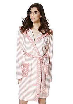F&F Striped and Polka Dot Fleece Dressing Gown - Pink & Cream