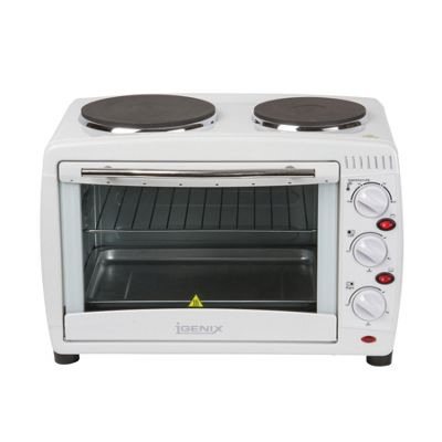 Igenix IG7126 26 Litre Electric Mini Oven with Double Hotplates - White