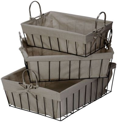 Set of 3 Wire and Canvas Baskets