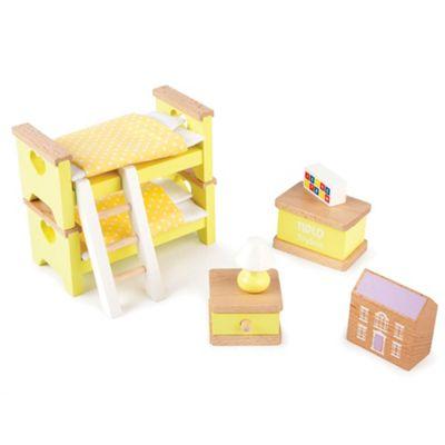 Tidlo Wooden Doll's House Children's Bedroom Furniture Set