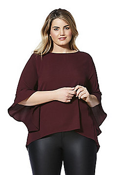 Izabel Curve Bell Sleeve Plus Size Top - Burgundy