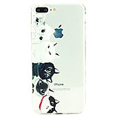 iPhone 7 Plus Cute Cats Illustration Slim Clear Silicone Case - Multi