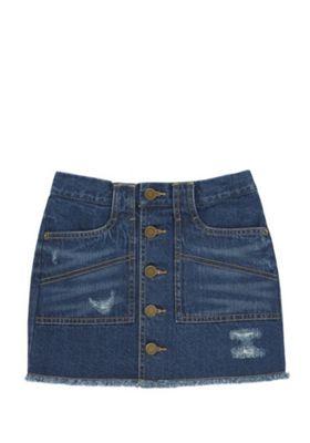 F&F Button-Through Denim Skirt Mid Wash 13-14 years