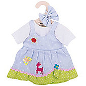 Bigjigs Toys Blue Spotted Rag Doll Dress for 38cm Soft Doll with Additional Matching Hair Accessories