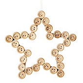 Natural Button Star Christmas Tree Decoration