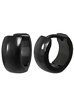 Urban Male Black Finish Stainless Steel Men's Hinged Hoop Earrings