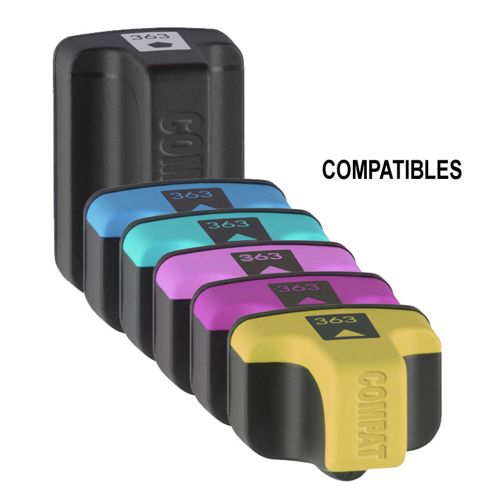 6 Compatible Ink Cartridges to Replace HP 363 - Cyan / Light Cyan / Yellow / Magenta / Light Magenta / Black (Capacity: 47 ml)