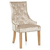 Ascot Oak Dining Chair Beige Velvet