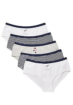F&F 5 Pack of Pug and Striped Shorts with As New Technology - Navy