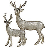 Set of 2 Silver Polyresin Standing Stag Christmas Ornaments