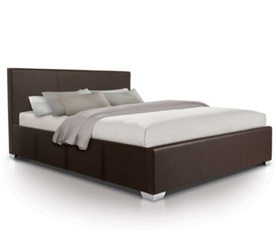 Luxury Leather Oversized Ottoman Gas Lift Storage Bed Upholstered in Faux Leather - Double - Brown