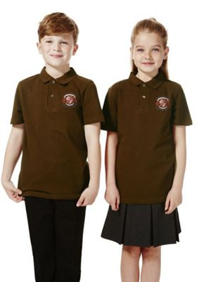Unisex Embroidered School Polo Shirt 6-7 years Brown