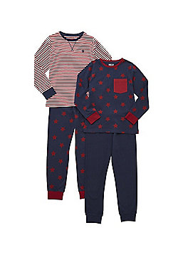 F&F 2 Pack of Star Print and Striped Pyjamas - Navy