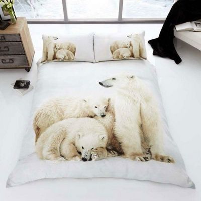 Polar Bear Family 3D Single Duvet Cover and Pillowcase Set