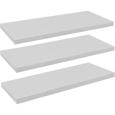Harbour Housewares Pack of 3 Floating Wooden Wall Shelves 120cm - White