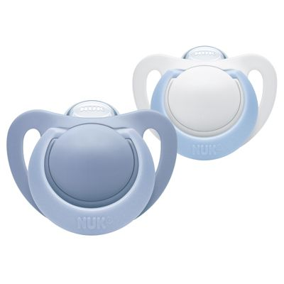 NUK Genius Silicone Blue Soother│BPA Free│Soft Thin Material│OHF Approved│6-18m 2Pk