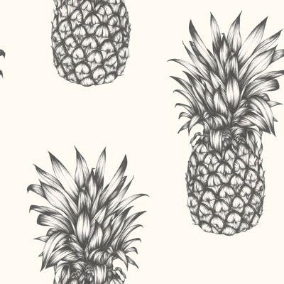 Tropics Copacabana Pineapple Wallpaper - Black & White - Arthouse 690900