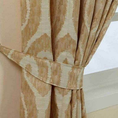 Homescapes Cream and Gold Jacquard Curtain Tie Back Pair Abstract Ikat Design