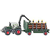 Farming - Fendt Tractor With Forestry Trailer - 1:87 Scale - Siku