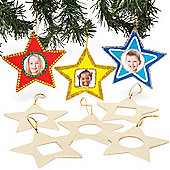 Star Wooden Photo Hanging Decorations for Children to Make Decorate (Pack of 8)
